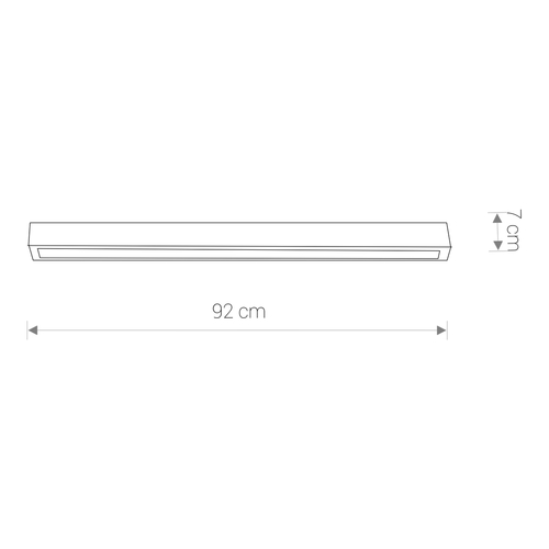 Lighting fixture STRAIGHT LED GRAPHITE CEILING 90