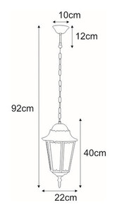 Hanging outdoor lamp K-5006H black from the LOZANA series small 1