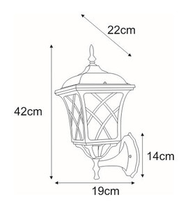 Outdoor wall lamp K-5180A black / gold from the KERRY series small 1