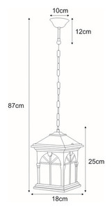 Hanging outdoor lamp K-5156H black / gold from the KERRY series small 1