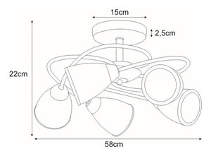 K-JSL-6059/5 CHR ceiling lamp from the PLATO I series small 1