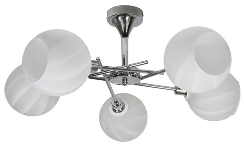 Raul chandelier 5X40W E14 Chrome, White lampshade