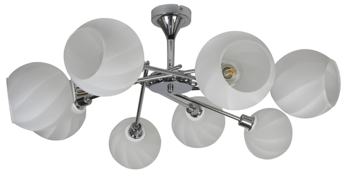Raul chandelier 8X40W E14 Chrome, White lampshade