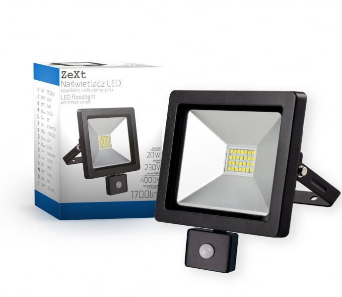 LED floodlight slim with motion sensor 20W / 230V 6400K PIR