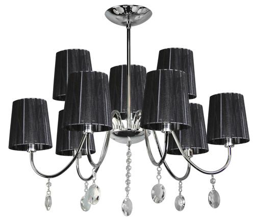 Sorento Pendant Lamp 9X40W E14 Chrome Lampshade Black