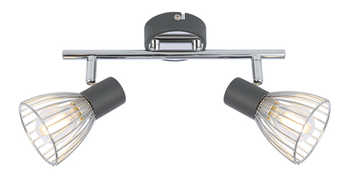 Modo Ceiling Lamp Strip 2X40W E14 Black + Chrome