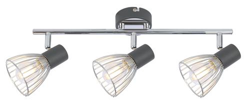 Modo Ceiling Lamp Strip 3X40W E14 Black + Chrome