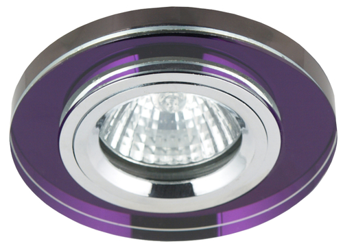 Ss-15 Ch / Pu Mr16 Chrome Eyelet Ceiling Lamp Ceiling Lamp Fixed Round Glass Violet