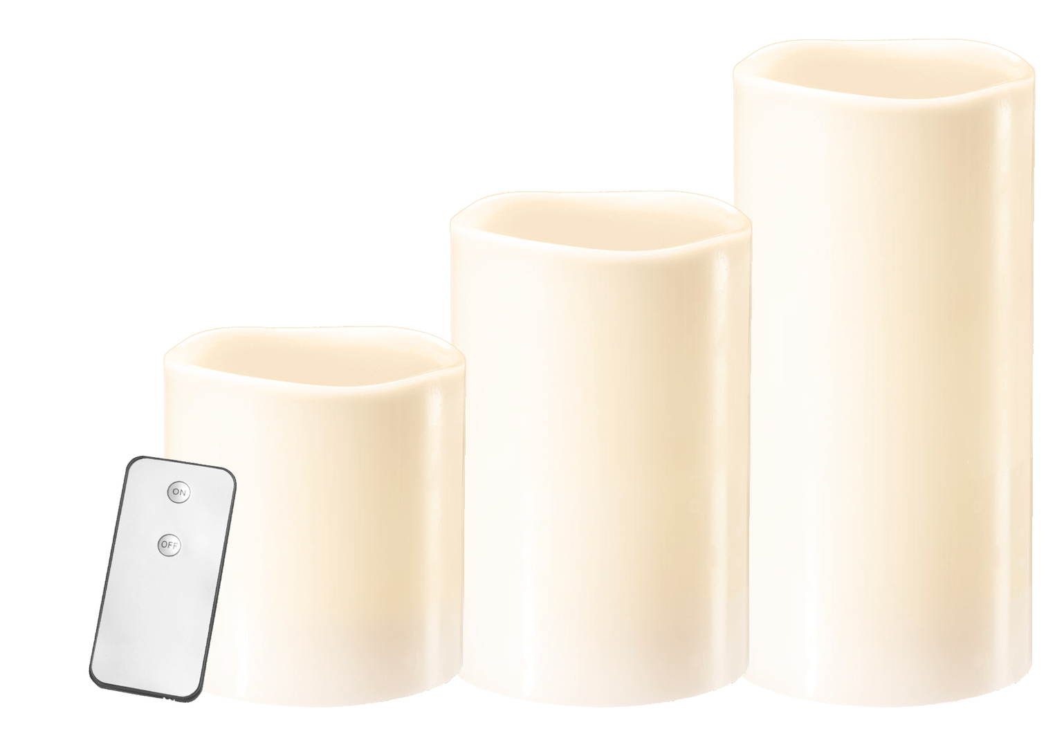 A set of 3 wax candles with remote control
