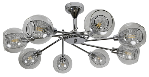 Ozzo Hanging Lamp 8X40W E14 Chrome, Colorless Lampshade
