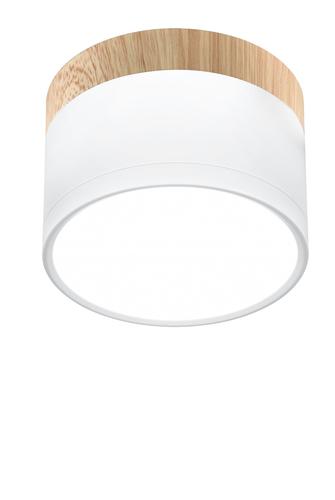 Luminaire Ceiling Tuba 9W Led 4000K White + Wooden Dia. 8.8 Cm