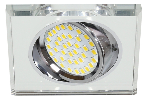 Ssu-13 Ch / Wh Mr16 Chrome Eyelet Ceiling Lamp Square Ceiling Lamp Clear Glass
