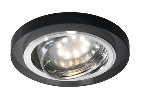 Ssu-15 Ch / Bk Mr16 Chrome Eyelet Ceiling Lamp. Ceiling. Repeal. Round Black Glass