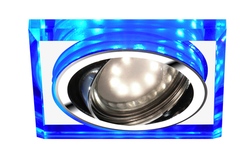 Ssu-22 Ch / Tr + Bl Gu10 50W + Led Smd 2 1W Blue 230V Chrome Eyelet Ceiling Lamp Square Ceiling Lamp Transparent Glass