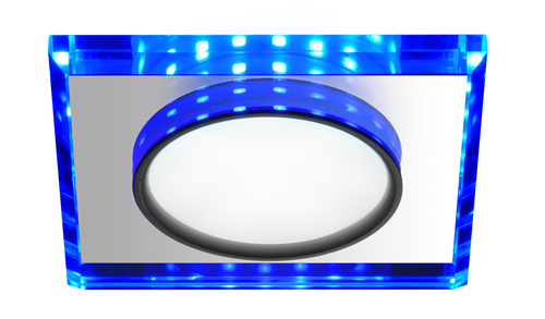 Ssp-22 Ch / Tr + Bl 8W Led 230V Ring Led Blue Eyelet Ceiling Ceiling Lamp Fixed Square Glass Transparent