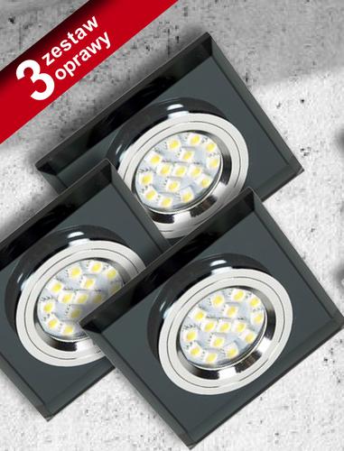 Set of Three Lamps Ss-13 Ch / Bk Black 3X50W Gu10 Without Bulb