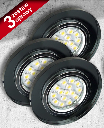 Set of Three Lamps Ss-15 Ch / Bk Black 3X50W Gu10 Without Bulb