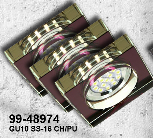 Set of Three Fixtures Ss-16 Ch / Pu 3X3W Gu10 Led With LED Bulb Chrome Ceiling Fixed Square Violet Glass
