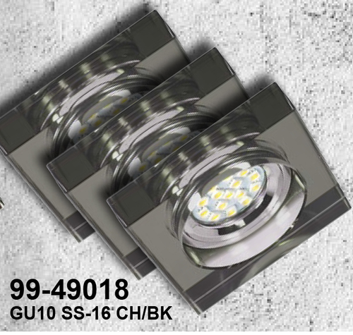 Set of Three Fixtures Ss-16 Ch / Bk 3X3W Gu10 Led With LED Bulb Chrome Ceiling Fixed Square Black Glass