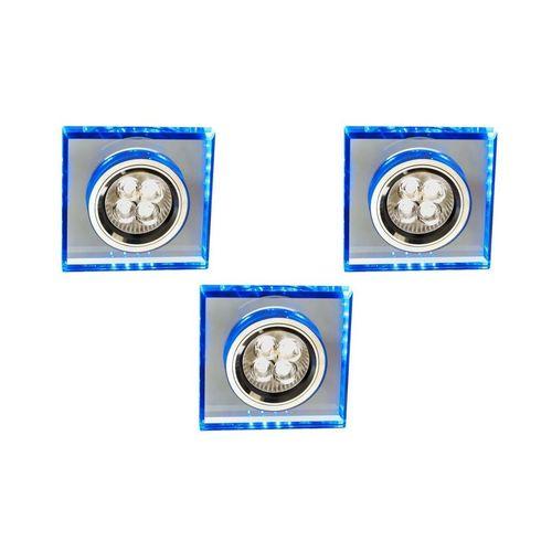 Set of Three Luminaires Ss-22 Ch / Tr + Bl Gu10 50W + Led Smd 230V Blue 2.1W Chrome Flux Ceiling. Square Glass Transparent