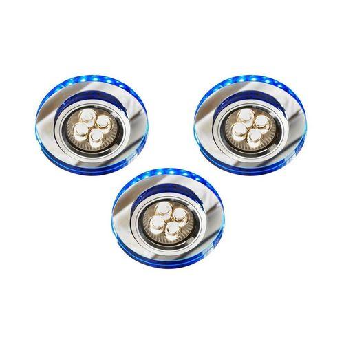 Set of Three Luminaires Ss-23 Ch / Tr + Bl Gu10 50W + Led Smd 230V Blue 2.1W Chrome Ceiling. Steel Round Transparent glass