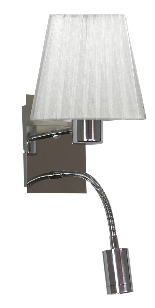 Sylwana Lamp Wall Lamp 1X40W E14 + Led With Switch Chrome / White Square
