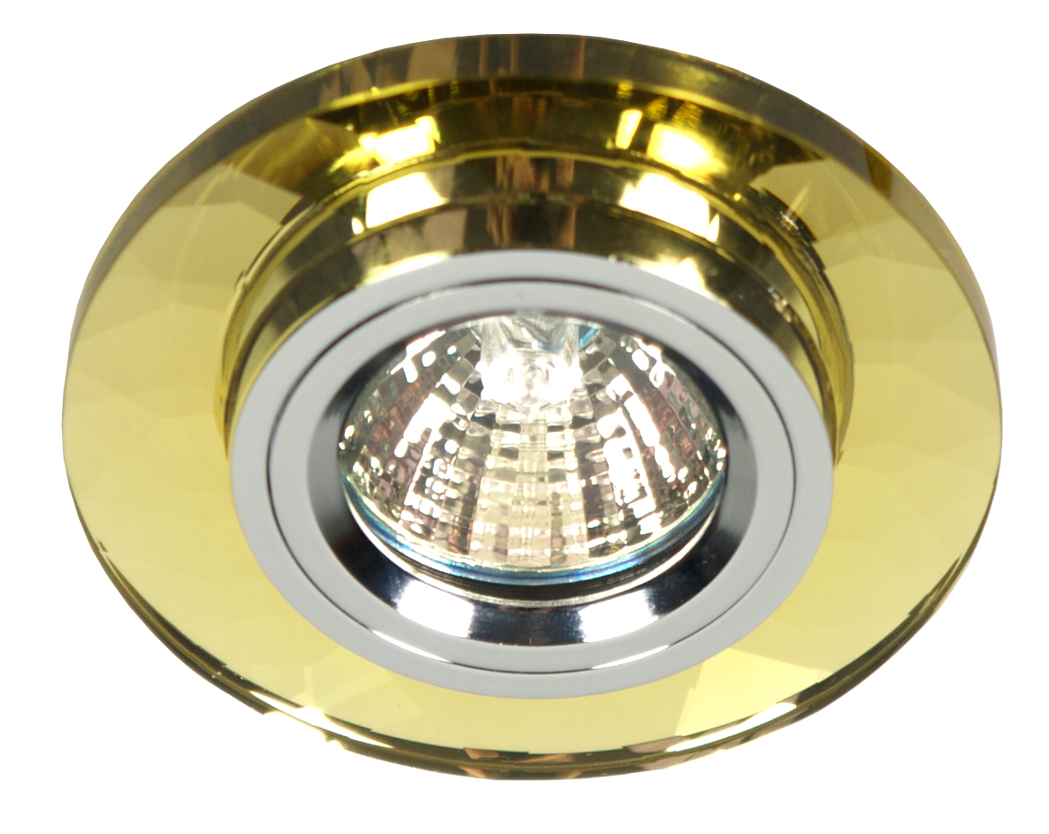 Ss-11 Ch / G Mr16 Chrome Finish Ceiling Fixed Round Golden Glass