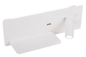 Olly Lamp Wall 4W + 3W Led + USB Charger White