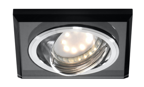 Ssu-13 Ch / Bk Mr16 Chrome Eyelet Ceiling Lamp Tilting Square Ceiling Lamp Black Glass