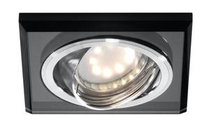 Ssu-13 Ch / Bk Mr16 Chrome Eyelet Ceiling Lamp Tilting Square Ceiling Lamp Black Glass small 0