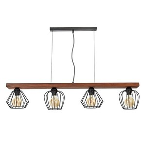 Hanging lamp Ozzy Black / Wood 4x E27 60 W small 1