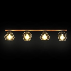 Hanging lamp Ozzy Black / Wood 4x E27 60 W small 10