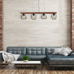 Hanging lamp Ozzy Black / Wood 4x E27 60 W small 6