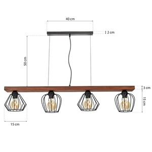 Hanging lamp Ozzy Black / Wood 4x E27 60 W small 7
