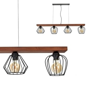 Hanging lamp Ozzy Black / Wood 4x E27 60 W small 0