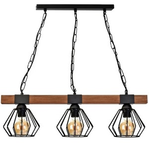 Hanging lamp Ulf Black / Wood 3x E27 60 W small 1