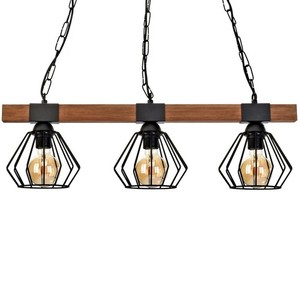 Hanging lamp Ulf Black / Wood 3x E27 60 W small 2
