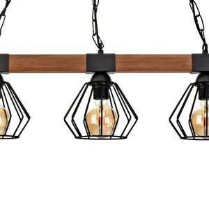 Hanging lamp Ulf Black / Wood 3x E27 60 W small 3