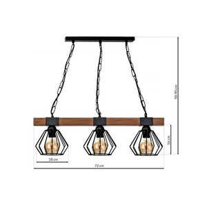 Hanging lamp Ulf Black / Wood 3x E27 60 W small 6