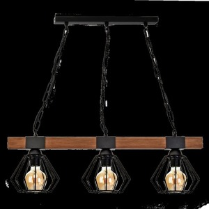 Hanging lamp Ulf Black / Wood 3x E27 60 W small 7