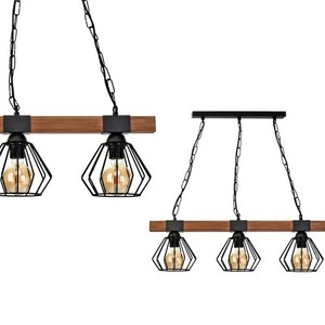 Hanging lamp Ulf Black / Wood 3x E27 60 W small 0