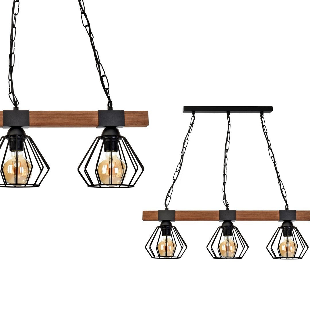 Hanging lamp Ulf Black / Wood 3x E27 60 W