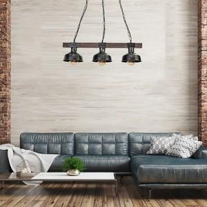 Hanging lamp Faro Black / Wood 3x E27 60 W small 5