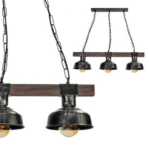 Hanging lamp Faro Black / Wood 3x E27 60 W small 0