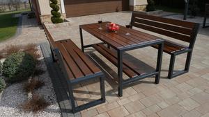 Modern Garden Bench with a Backrest small 1