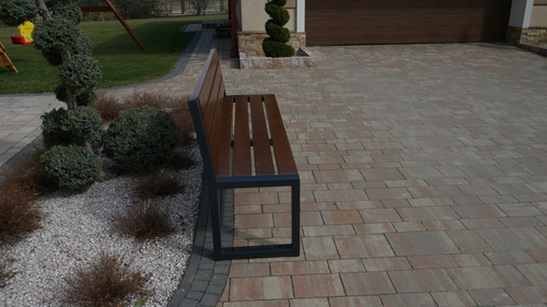 Modern Garden Bench with a Backrest