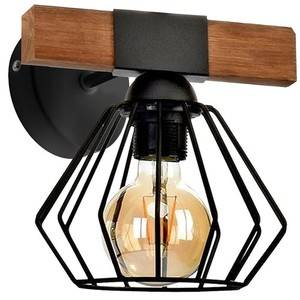 Wall lamp Ulf Black / Wood 1x E27 60 W small 1