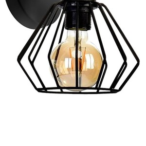 Wall lamp Ulf Black / Wood 1x E27 60 W small 2