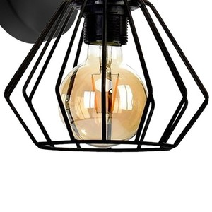 Wall lamp Ulf Black / Wood 1x E27 60 W small 3