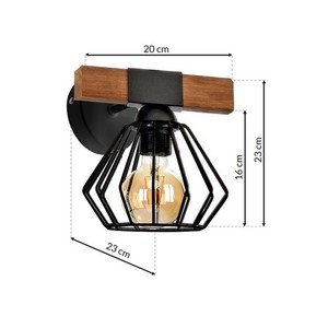 Wall lamp Ulf Black / Wood 1x E27 60 W small 6
